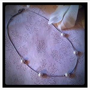 Vintage Napier Faux Pearl Snake Chain Necklace